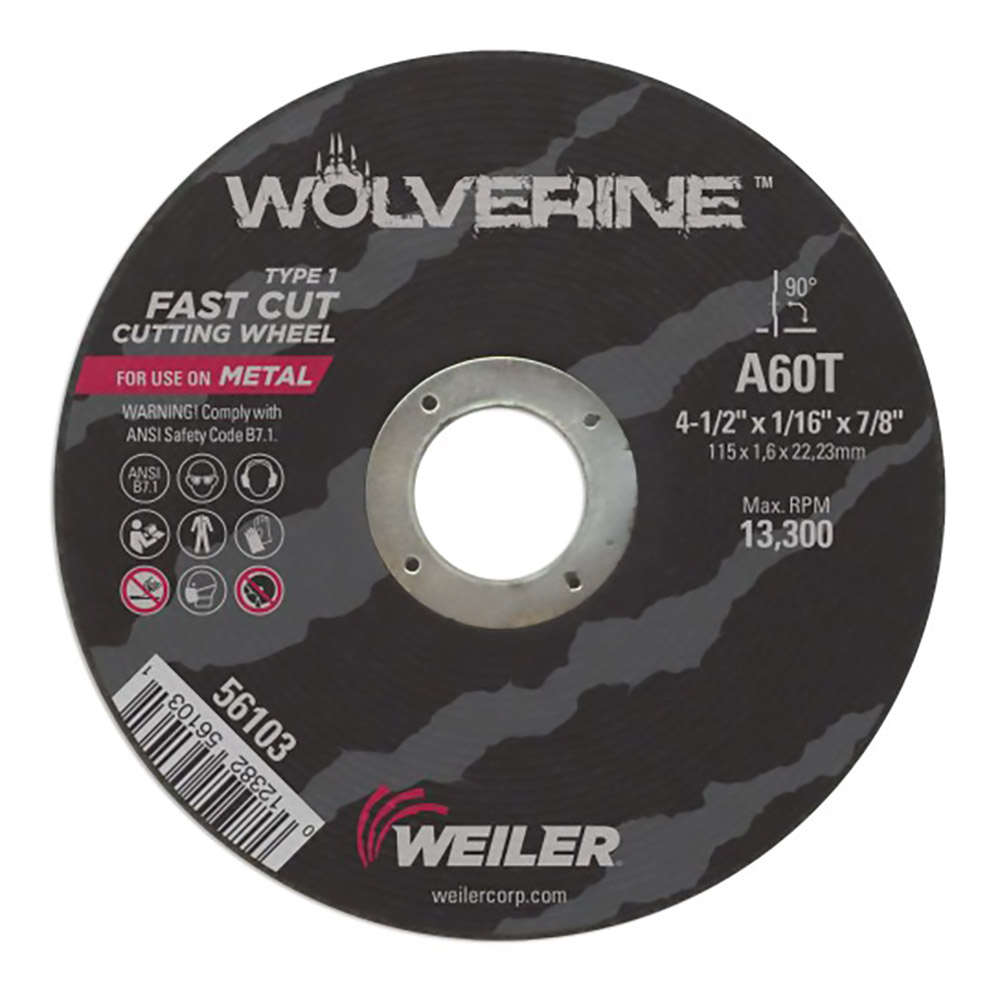 "4-1/2"" Dia. x 1/16"" Thickness x 7/8"" Arbor Hole Wolverine™ A60T  Fast Cut-Off Wheel - Type 1"