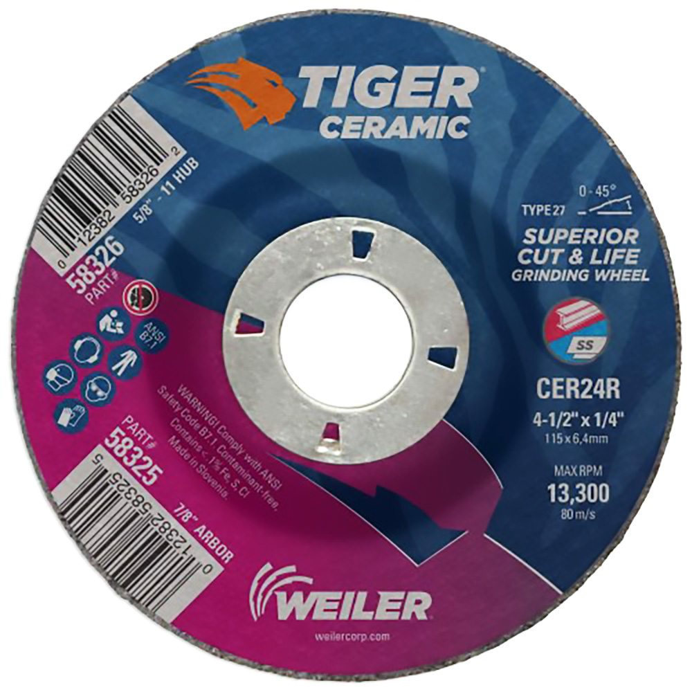 Weiler® Tiger® Ceramic Max Performance Grinding Wheels