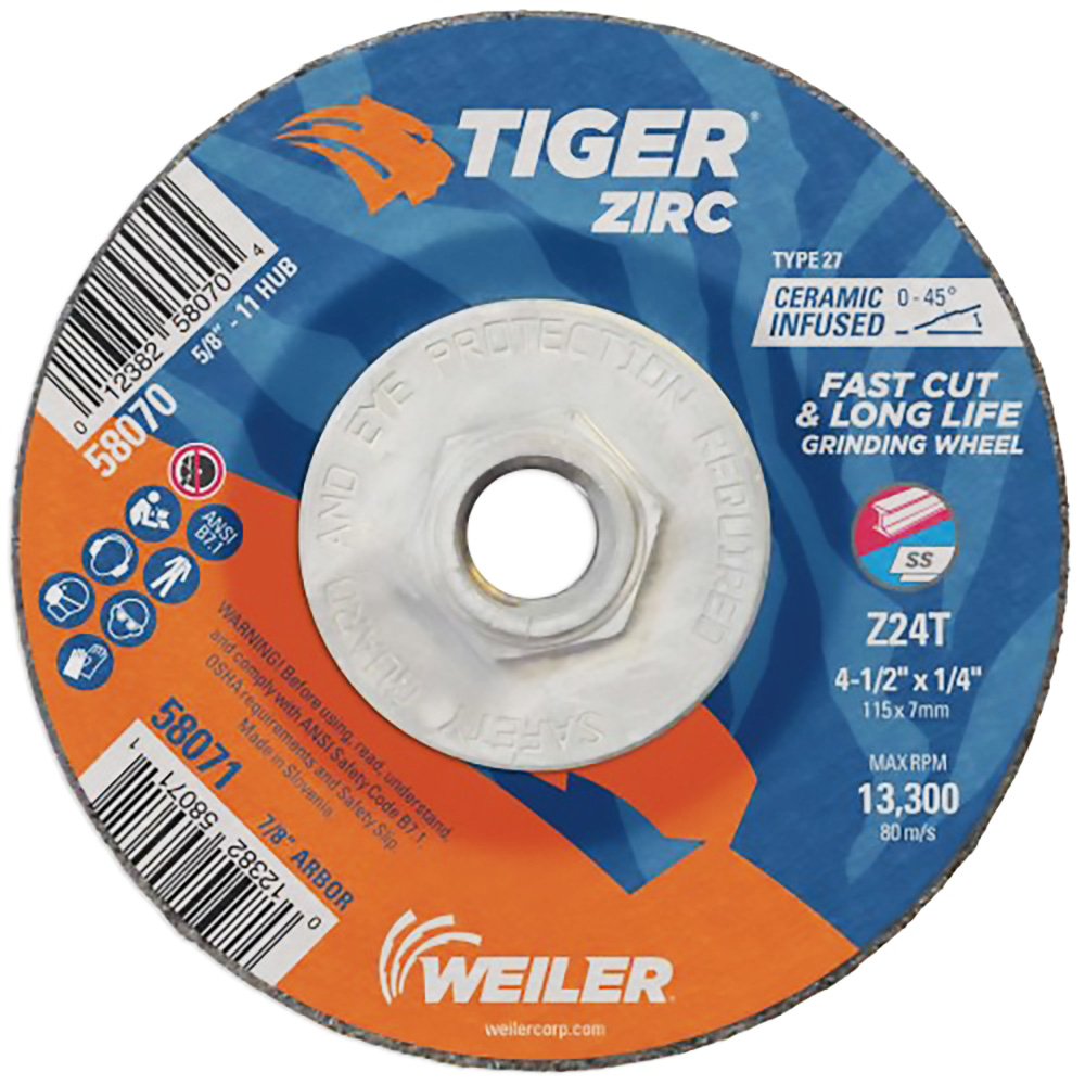 "4-1/2"" Dia. x 1/4"" Thickness x 5/8""-11 Hub Weiler® Tiger® Zirconia Grinding Wheel - Type 27"
