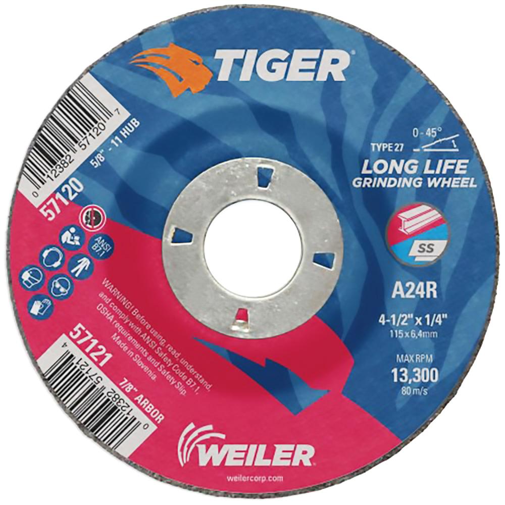 "4-1/2"" Dia. x 1/4"" Thickness x 7/8"" Arbor Hole Weiler® Tiger® Premium Aluminum Oxide Grinding Wheel - Type 27"