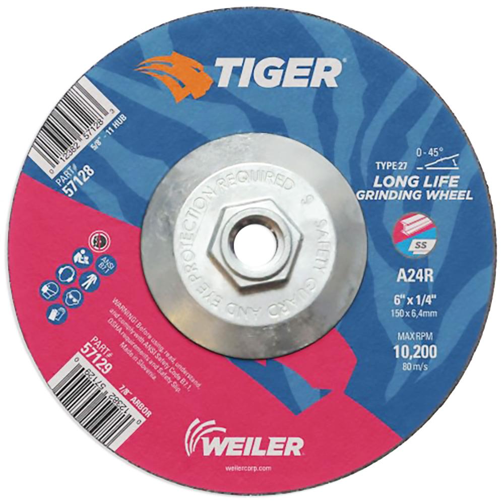 "6"" Dia. x 1/4"" Thickness x 5/8""-11 Hub Weiler® Tiger® Premium Aluminum Oxide Grinding Wheel - Type 27"