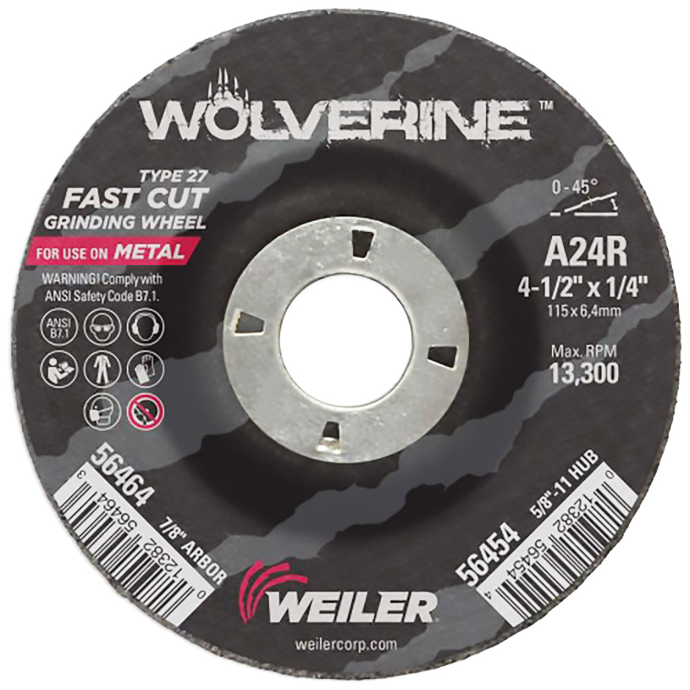 "4-1/2"" Dia. x 1/4"" Thickness x 7/8"" Arbor Hole Weiler® Wolverine™ Grinding Wheel - Type 27"