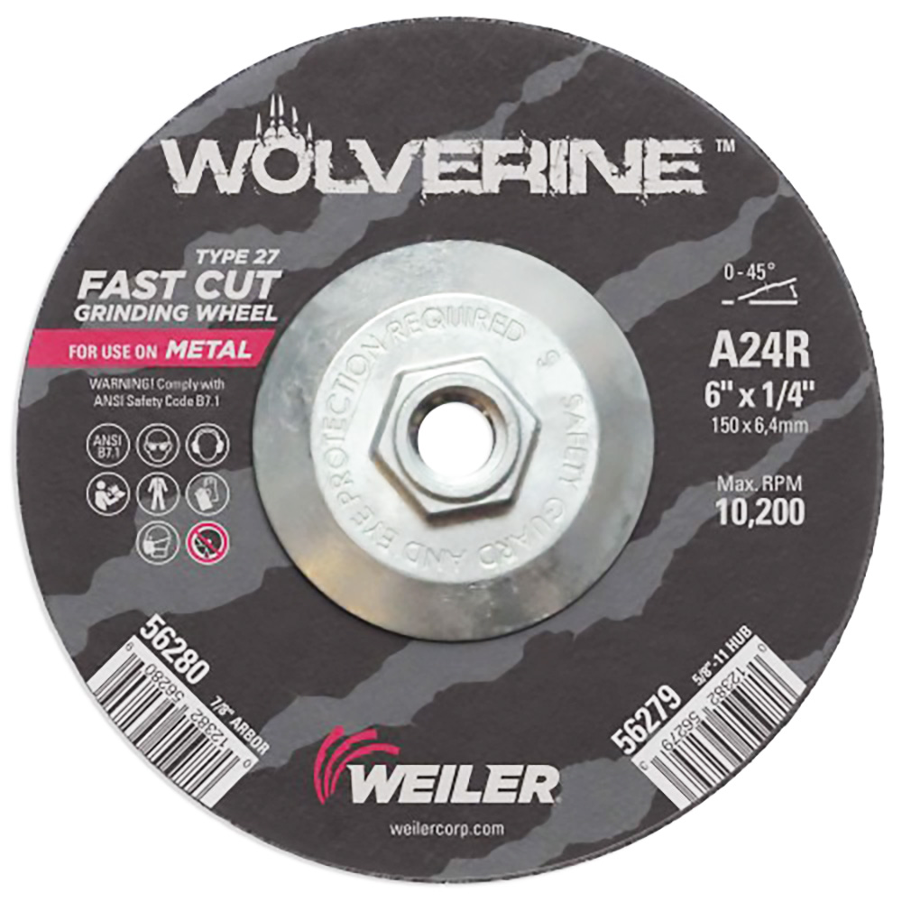 "6"" Dia. x 1/4"" Thickness x 5/8""-11 Hub Weiler® Wolverine™ Grinding Wheel - Type 27"