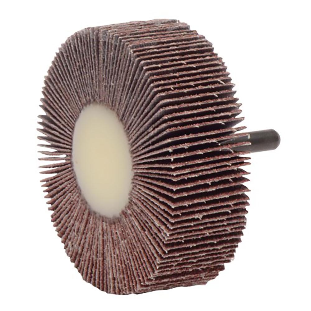 """3"""" Dia. x 1"""" W x 1/4"""" Shank 80 Grit Weiler® Tiger® Aluminum Oxide Flap Wheel"""