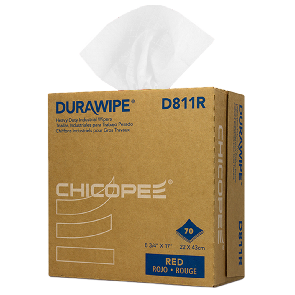"8.75"" x 17"" White Heavy-Duty Wipers - 70 Wipes/Pop-Up Box"