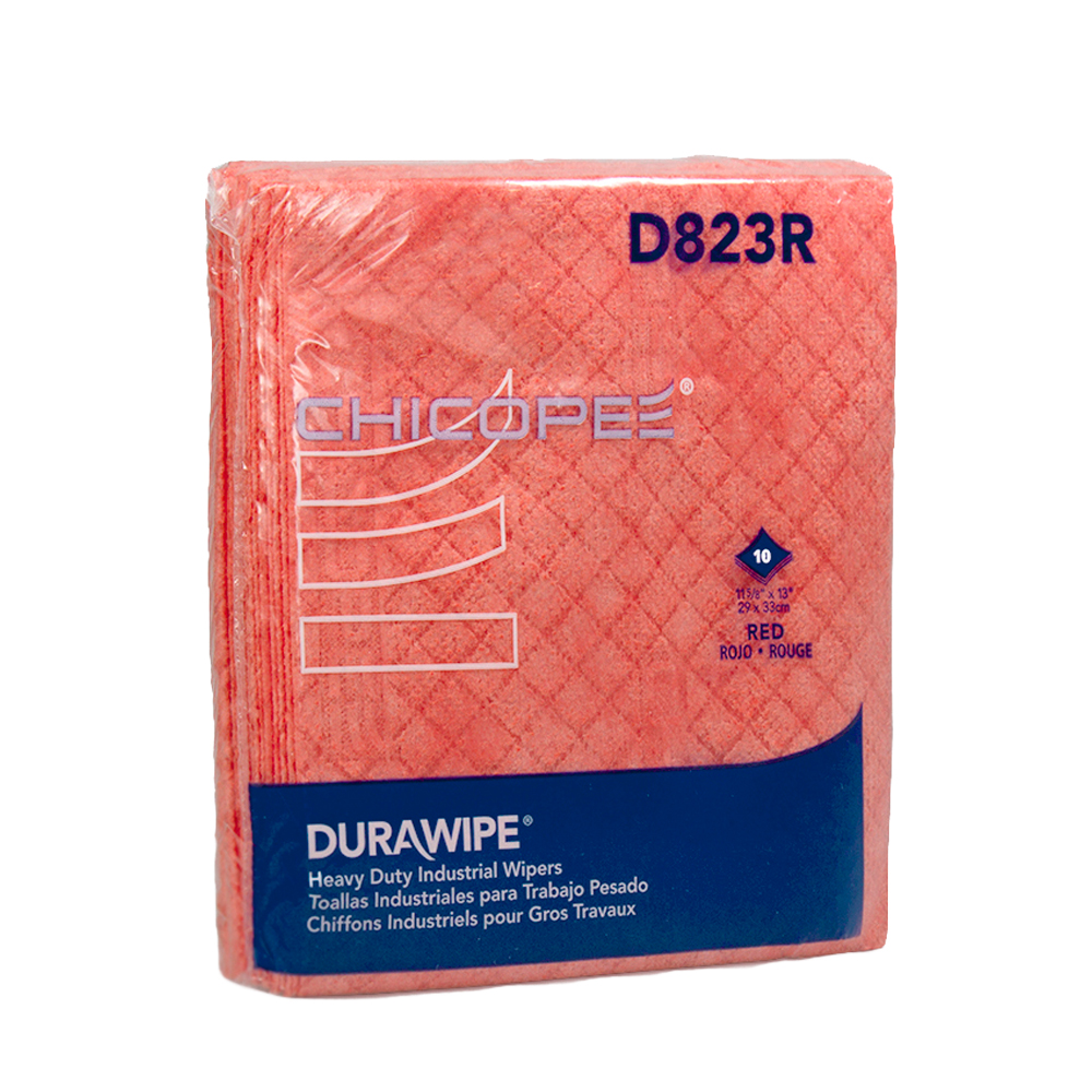 "11.6"" x 13"" Red Heavy-Duty Wipers - 10 Wipes/1/4 Fold Pack"