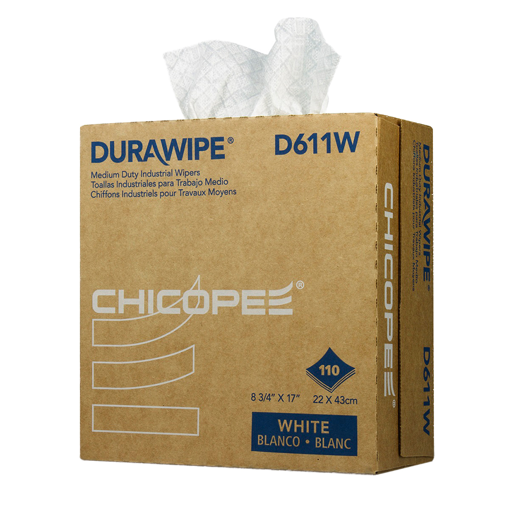 "8.75"" x 17"" White Medium-Duty Wipers 60 gsm - 110 Wipes/Pop-Up Box"