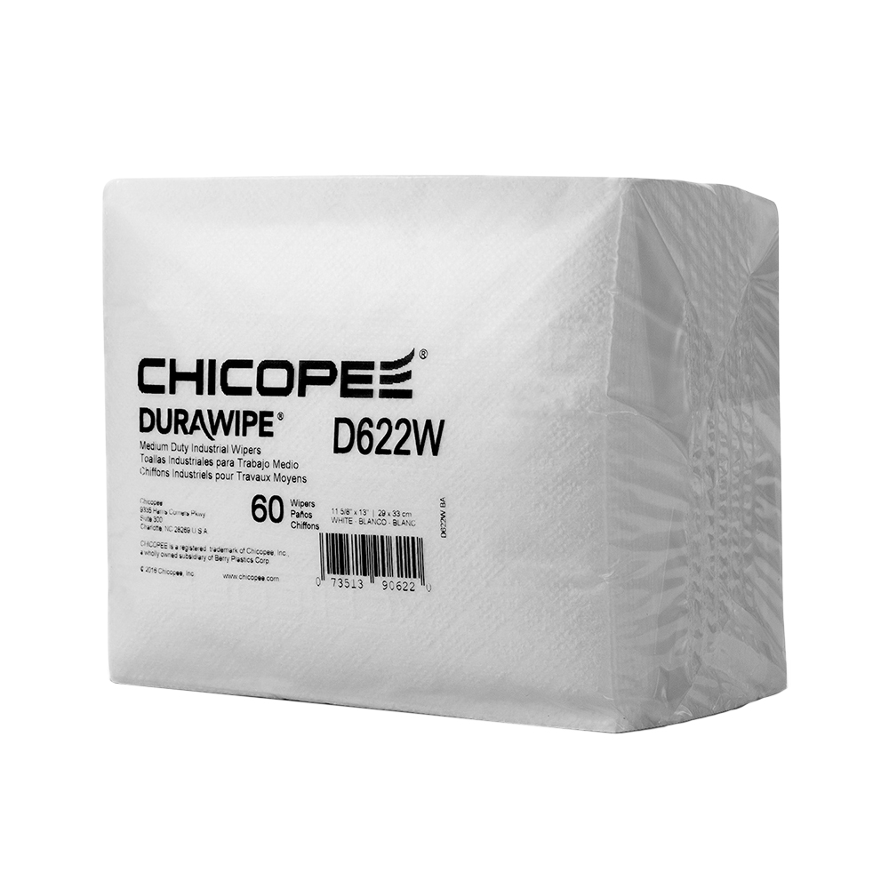"11.62"" x 13"" White Medium-Duty Wipers 60 gsm - 60 Wipes/1/4 Fold Box"