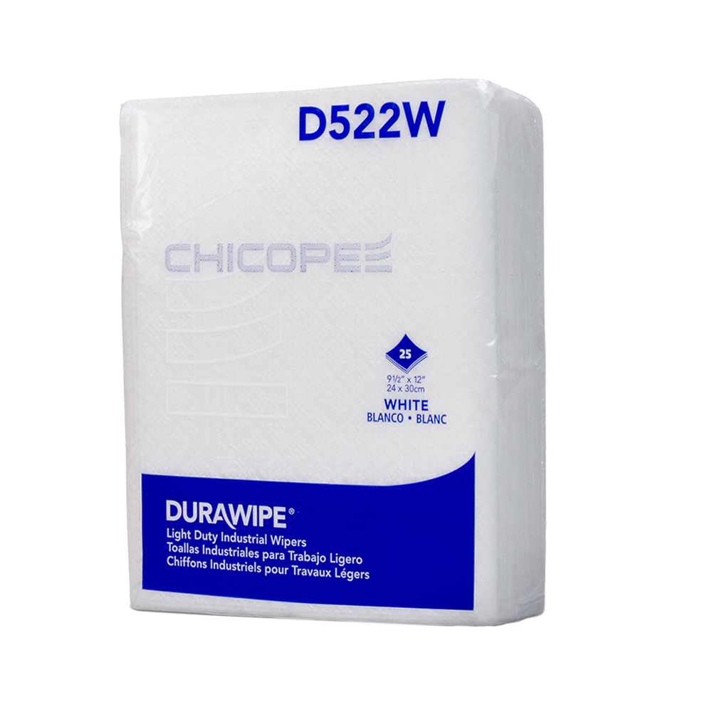"""9.5"""" x 12"""" White Light-Duty Wipers - 25 Wipes/1/4 Fold Pack"""
