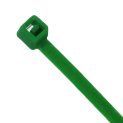"4"" L x 18 lbs. Tensile Strength Green Vivid Cable Ties - Pack of 100"