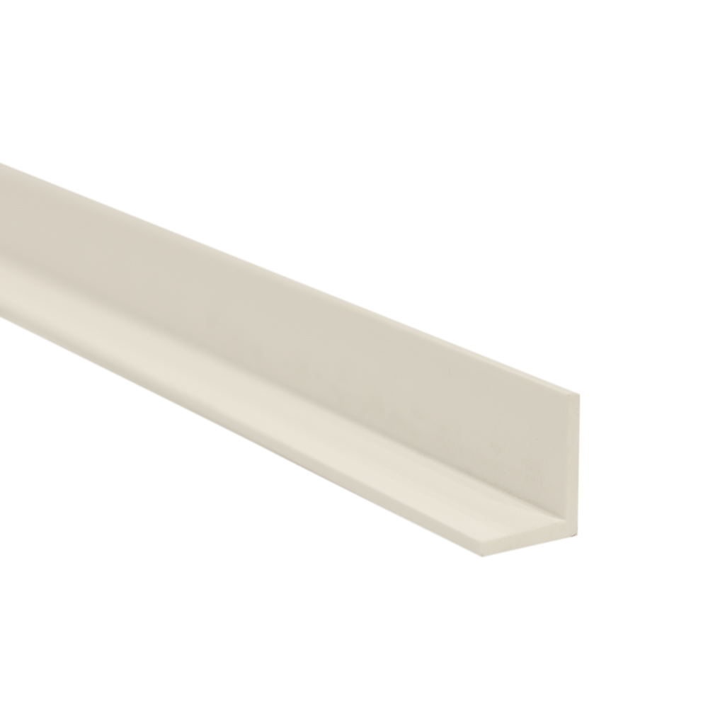 "1-1/4"" x 1-1/4"" x 3/16"" White PVC-1 Extruded Angle"