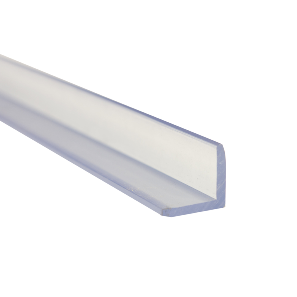 """2"""" x 2"""" x 1/4"""" Clear PVC Extruded Angle"""