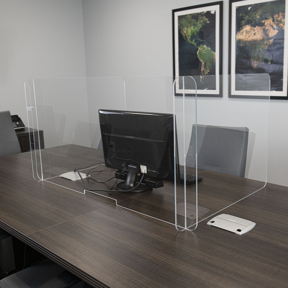 Tamco® Clear Office Partition/Sneeze Guard with Pass Through Slot