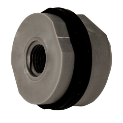 "1/4"" Installed PVC Tank Fitting with Santoprene® Gaskets - 1-1/8"" Hole Size"