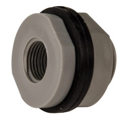 "3/8"" Installed PVC Tank Fitting with Santoprene® Gaskets - 1-1/8"" Hole Size"