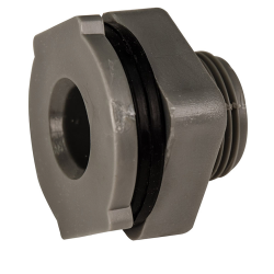 "1/2"" Installed PVC Tank Fitting with Santoprene® Gaskets - 1-1/8"" Hole Size"