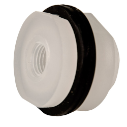 "1/4"" Installed Polypropylene Tank Fitting with Santoprene® Gaskets - 1-1/8"" Hole Size"