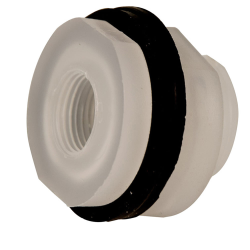 "3/8"" Installed Polypropylene Tank Fitting with Santoprene™ Gaskets - 1-1/8"" Hole Size"