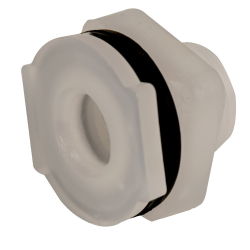 "1/2"" Installed Polypropylene Tank Fitting with Santoprene™ Gaskets - 1-1/8"" Hole Size"