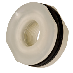 "1"" Installed Polypropylene Tank Fitting with Santoprene™ Gaskets - 1-3/4"" Hole Size"