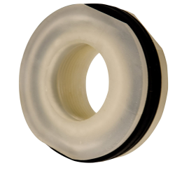 "1-1/4"" Installed Polypropylene Tank Fitting with Santoprene™ Gaskets - 2"" Hole Size"
