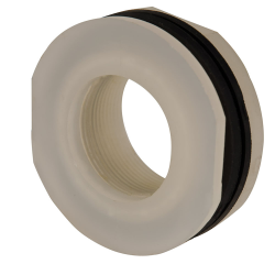 "1-1/2"" Installed Polypropylene Tank Fitting with Santoprene® Gaskets - 2-1/4"" Hole Size"