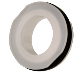 "2"" Installed Polypropylene Tank Fitting with Santoprene® Gaskets - 2-7/8"" Hole Size"