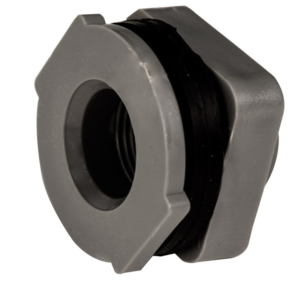 "3/4"" Installed PVC Tank Fittings with Santoprene® Gaskets - 1-3/8"" Hole Size"