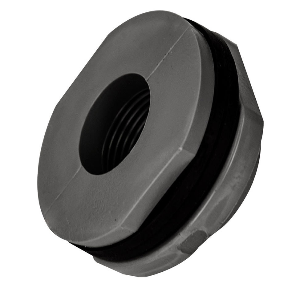 """1"""" Installed PVC Tank Fitting with Santoprene® Gaskets - 1-3/4"""" Hole Size"""