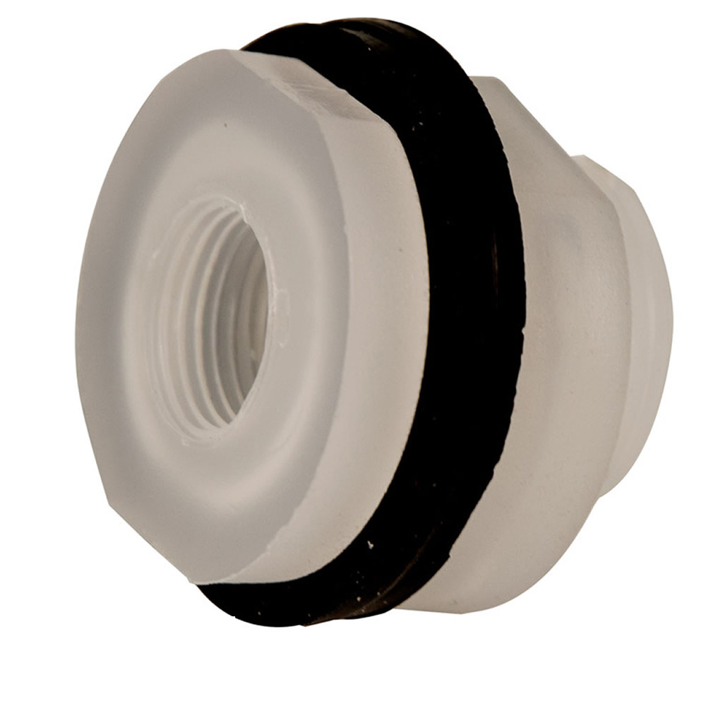 "3/8"" Installed Polypropylene Tank Fitting with Santoprene® Gaskets - 1-1/8"" Hole Size"