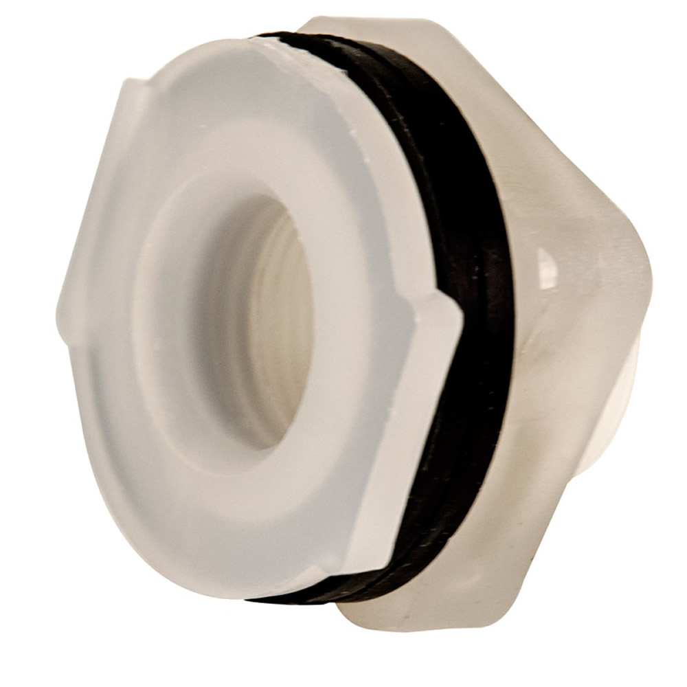 "3/4"" Installed Polypropylene Tank Fitting with Santoprene® Gaskets - 1-3/8"" Hole Size"