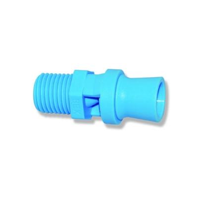 "1/4"" Blue Polypropylene BEX® Mini Tank Mixing Eductor with .98 Orifice"