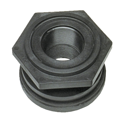 "1-1/2"" Polypropylene Bulkhead with Santoprene® Gasket"