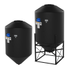 "2600 Gallon 45° Cone Bottom, Dome Top Black Tank w/16"" Lid - 86"" Dia x 146"" H"