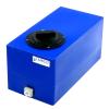 "5 Gallon Blue Molded Polyethylene Tank with Lid & 1/2"" FNPT Fitting - 18"" L x 9"" W x 10"" H"