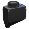 "3 Gallon Black Rectangle Rinse Tank w/5"" Lid & 3/4"" Spinweld Fitting - 7"" L x 12"" W x 14"" Hgt."