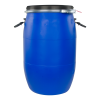 16 Gallon Blue UN Rated Open Head Drum with Lever Lock Lid & Attached Handles