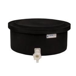 "6 Gallon Black Polyethylene Shallow Tank with Cover & Spigot - 7"" High"