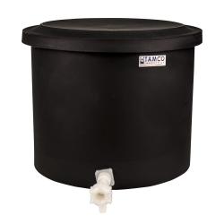 "10-12 Gallon Black Polyethylene Shallow Tank with Cover & Spigot - 14"" High"