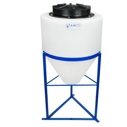 "15 Gallon Tamco® Cone Bottom Tank with 1-1/2"" FPT Boss Fitting (Full Drain) - 18"" Dia. x 22"" Hgt."