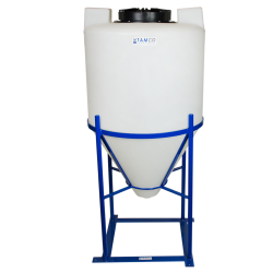 "55 Gallon Cone Bottom Tank with Mixer Mounts & 1-1/2"" FPT Boss Fitting (Full Drain) - 26"" Diameter x 42"" High"