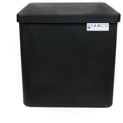 "25 Gallon Black Standard Square Tank with Cover - 18"" L x 18"" W x 18"" H"