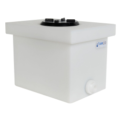 "6 Gallon Natural Polyethylene Tank with 5"" Lid & 3/4"" FNPT Polypropylene Bulkhead - 14"" L x 10"" W x 10"" H"