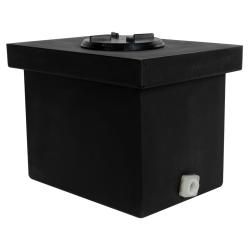 """6 Gallon Black Polyethylene Tank with 5"""" Lid & 3/4"""" FNPT Polypropylene Bulkhead - 14"""" L x 10"""" W x 10"""" Hgt."""