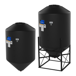 "150 Gallon 45° Cone Bottom, Flat Top Black Tank w/12"" Lid - 36"" Dia x 51"" H"