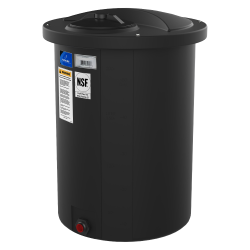 "55 Gallon Black Open-Top Vertical Batch Tank w/ Bolt On Cover 23"" x 36"""