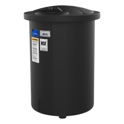 "100 Gallon Black Closed Top 15° Cone Bottom Batch Tanks - 23"" Dia. x 65"" H"