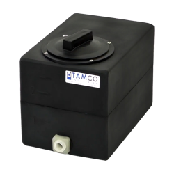 "2.5 Gallon Black Molded Polyethylene Tamco® Tank with Lid & 1/2"" FNPT Fitting - 12"" L x 8"" W x 10"" Hgt."