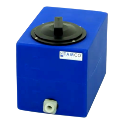 "2.5 Gallon Blue Molded Polyethylene Tamco® Tank with Lid & 1/2"" FNPT Fitting - 12"" L x 8"" W x 10"" Hgt."