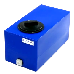 "5 Gallon Blue Molded Polyethylene Tamco® Tank with Lid & 1/2"" FNPT Fitting - 18"" L x 9"" W x 10"" Hgt."